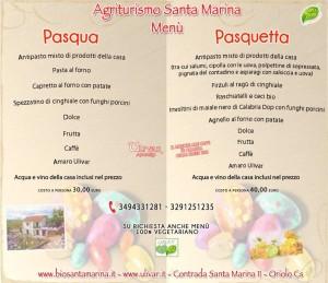 Menù di Pasqua e Pasquetta all'agriturismo Santa Marinadi Oriolo (Cs)