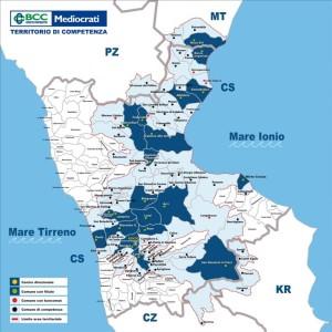 La mappatura sul territorio della Bcc Mediocrati