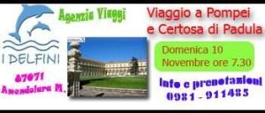 10 NOVEMBRE, Viaggio a Pompei e alla Certosa di Padula. INFO: Delfini Viaggi Amendolara