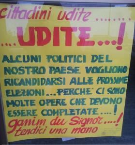 Manifesto satirico comparso in uno degli otto comuni interessati dal voto amministrativo
