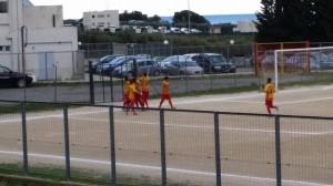 Il giallorossi del Trebisacce festeggiano il 2-0 contro il San Fili