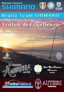"""La locandina del """"Trofeo d'eccellenza per squadre di Società di Surf Casting-Girone Sud 2014"""""""