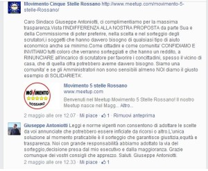 Il botta e risposta su facebook tra il sindaco Antoniotti e il Movimento Cinque Stelle di Rossano