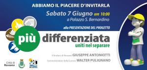 """L'evento """"Più differenziata, uniti nel separare"""" in programma sabato mattina nella sala rossa di Palazzo San Bernardino a Rossano"""