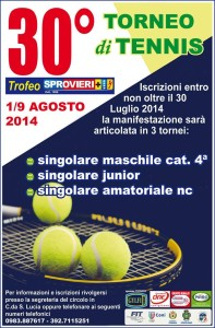 """La locandina della trentesima edizione del torneo di tennis """"Città di Corigliano-  Sprovieri Srl"""""""
