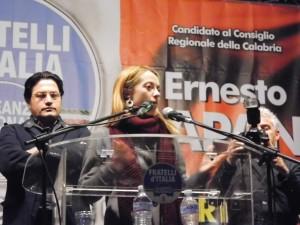 L'onorevole Giorgia Meloni a Rossano per sostenere la       candidatura di Ernesto Rapani (Foto del Reporter Antonio Le       Fosse)