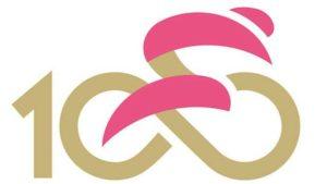 Il nuovo logo per il Giro del Centenario. Il simbolo fonde il ciclista con il Trofeo senza fine e il simbolo dell'infinito